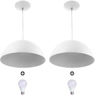 2 Lustres Pendente Meia Lua 30cm Alumínio Branco + Lampada
