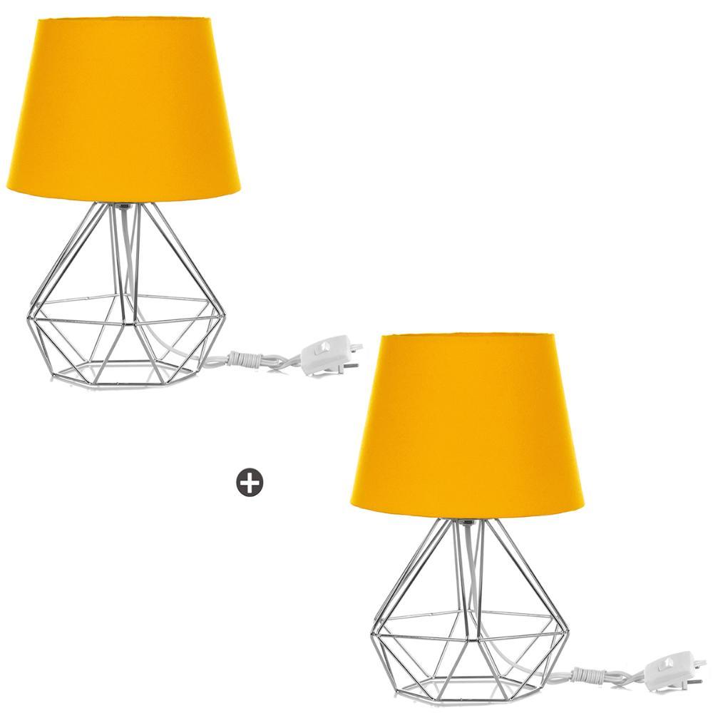 Kit 2 Abajur Diamante Dome Amarelo Com Aramado Cromado