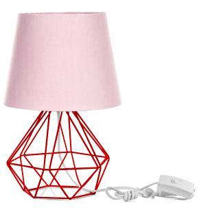 Abajur Diamante Dome Rosa Com Aramado Vermelho