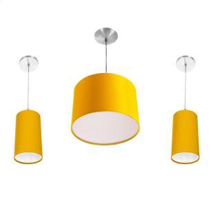 Kit Pendente Dome + 2 Pendente Cilindrica Amarelo