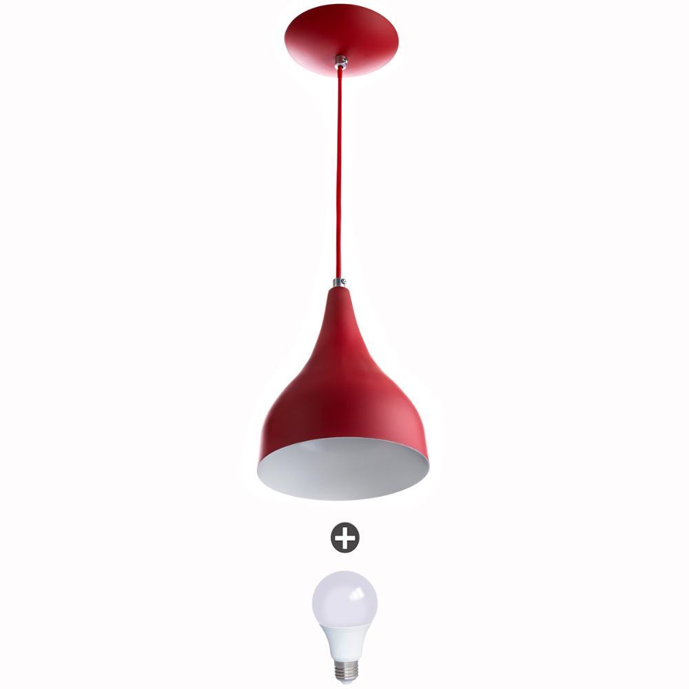 Lustre Pendente Gota Pequena Alumínio 21cm Vermelho + Lampadas