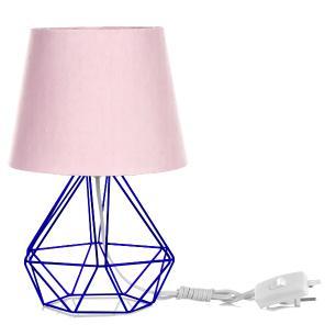 Abajur Diamante Dome Rosa Com Aramado Azul