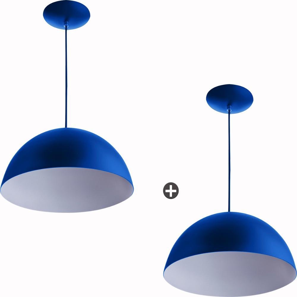 Kit 2 Lustres Pendente Meia Lua 40cm Alumínio Azul