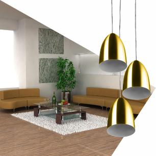 Pendente Cone Bala Sadan Aluminio Triplo Dourado