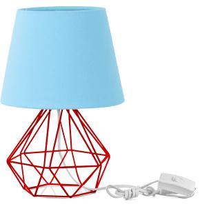 Abajur Diamante Dome Azul Bebe Com Aramado Vermelho