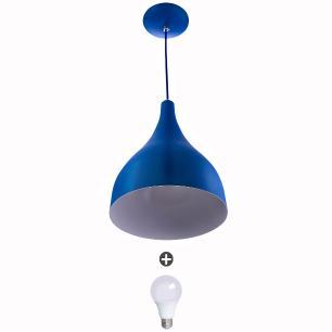Lustre Pendente Gota Media Alumínio 30cm Azul + Lampadas