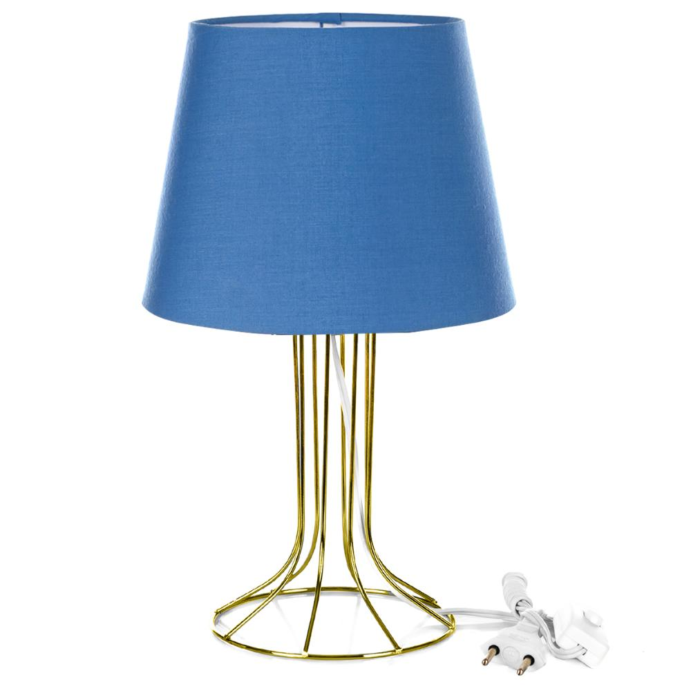 Abajur Torre Dome Azul Com Aramado Dourado