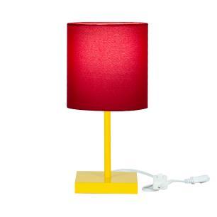 Abajur Eros Cilindrico Vermelho Base Toda Amarela Quadrada