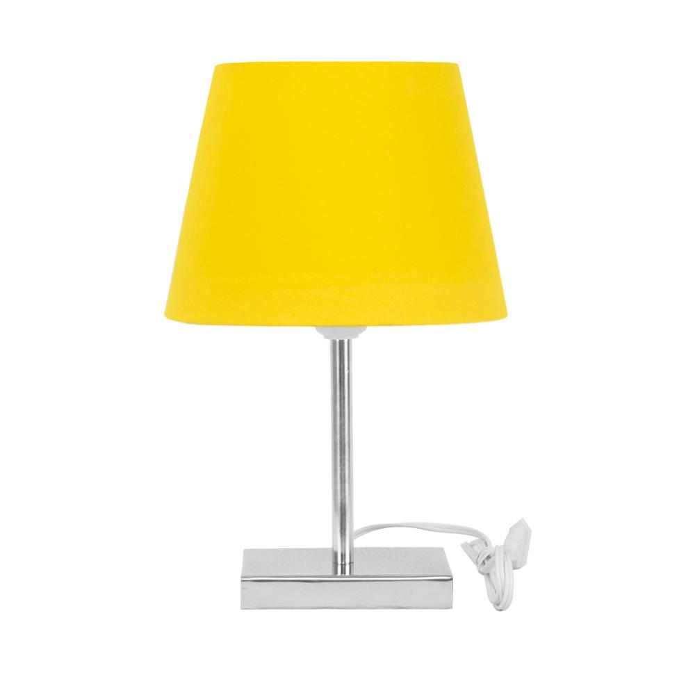 Abajur Eros Touch Dome Amarelo com Base Quadrada Magnifico.