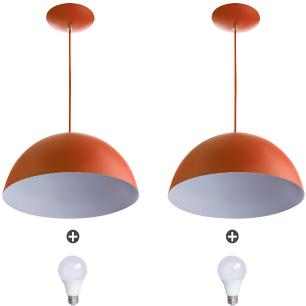 2 Lustres Pendente Meia Lua 40cm Alumínio Cobre + Lampada