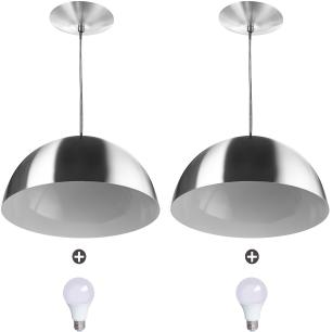 2 Lustres Pendente Meia Lua 40cm Alumínio Escovado + Lampada