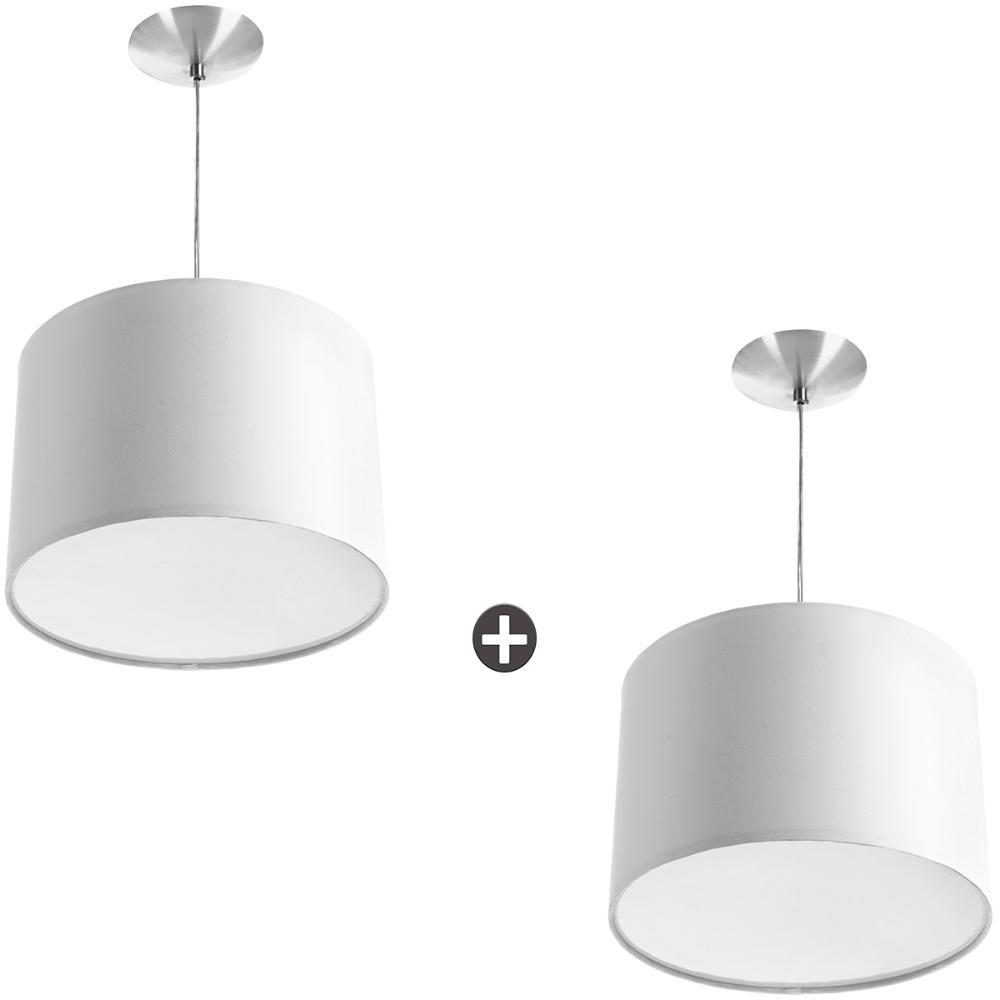 Kit 2 Lustres Cupula Pendente Dome 30x20cm Magnífico Branco