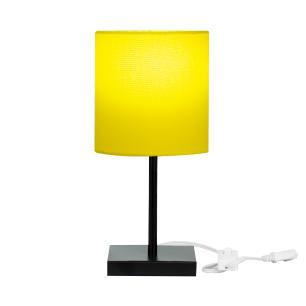 Abajur Eros Cilindrico Amarelo Base Toda Preta Quadrada