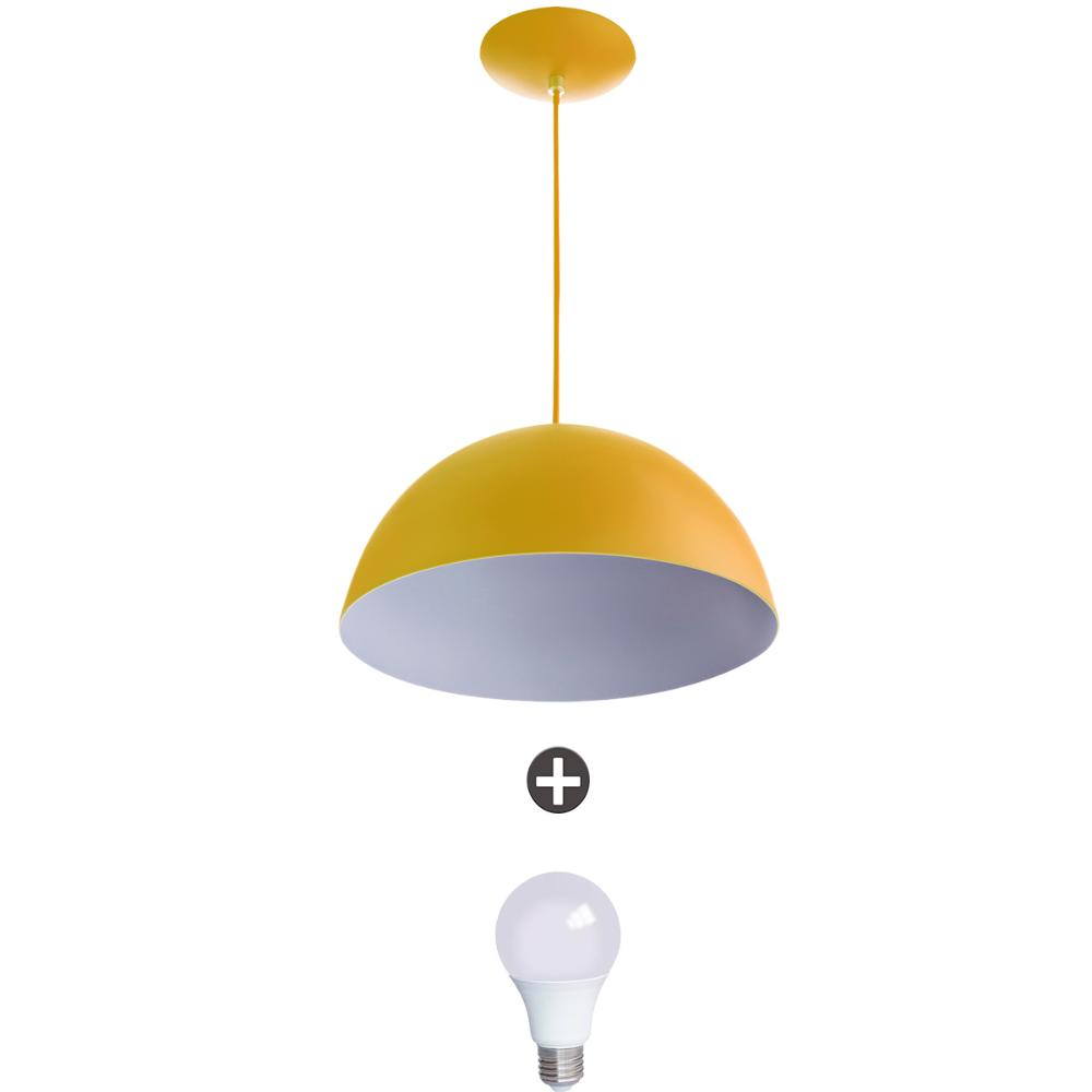 Pendente Meia Lua 30 Alumínio Amarelo Com Lampada