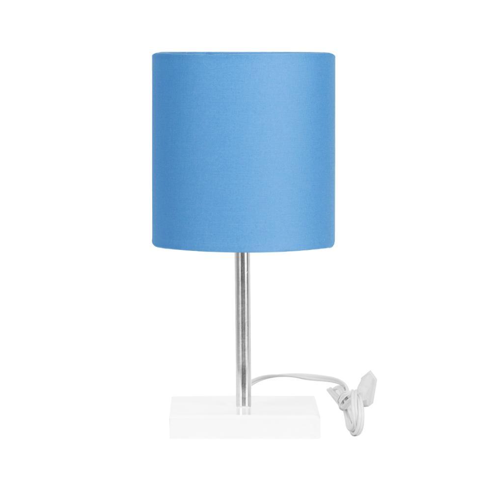 Abajur Eros Touch Cilindrico Azul Base Branca Quadrada