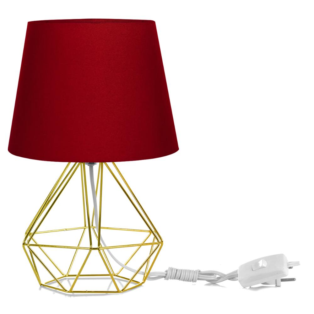 Abajur Diamante Dome Vermelho Com Aramado Dourado