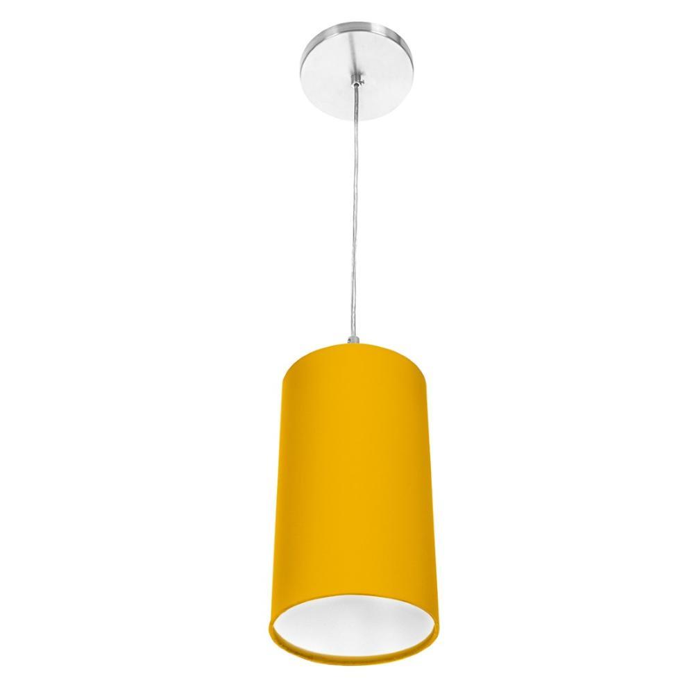 Lustre Pendente Cilindrica De Cupula 14x25cm Amarelo
