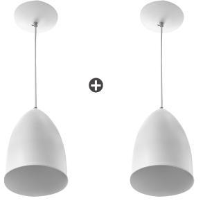 Kit 2 Lustres Pendente Cone De Alumínio 20x14cm Soquete E-27 Branco