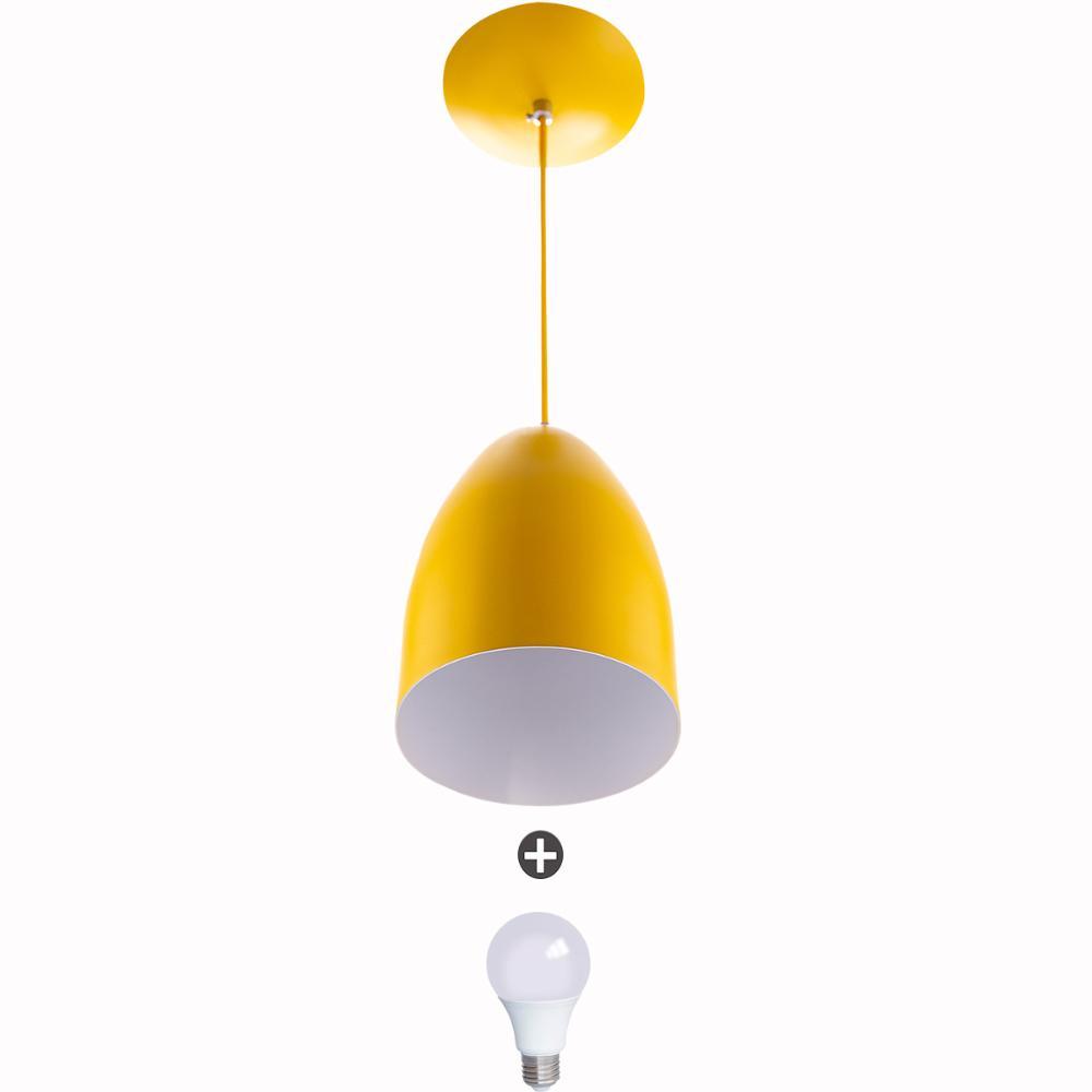 Lustre Pendente Cone Alumínio 20x14cm Amarelo + Lampada