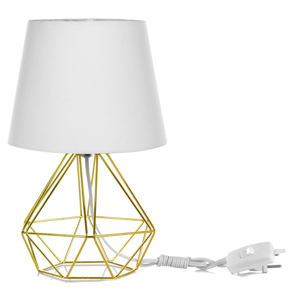 Abajur Diamante Dome Branco Com Aramado Dourado