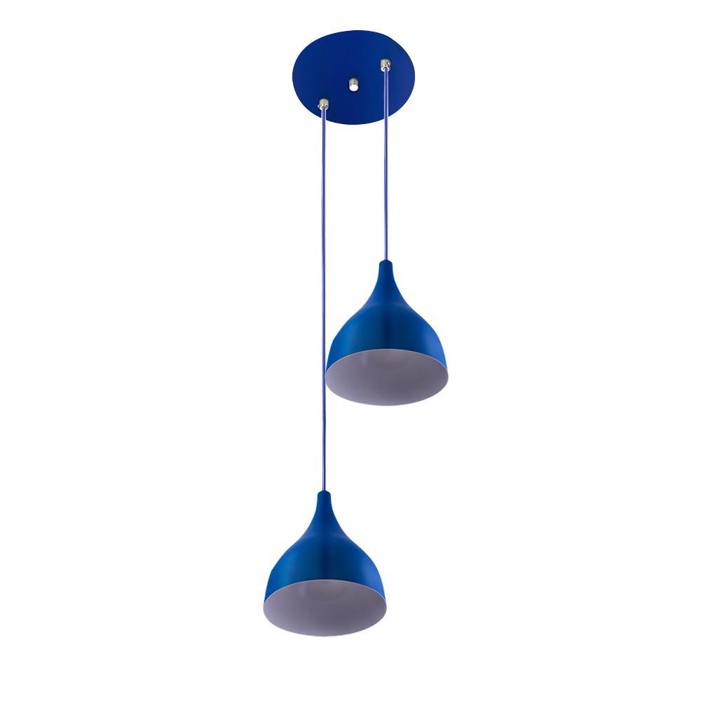 Lustre Pendente Aluminio Gota Duplo 21cm Azul