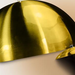 Kit 2 Lustres Pendente Meia Lua 40cm Alumínio Dourado