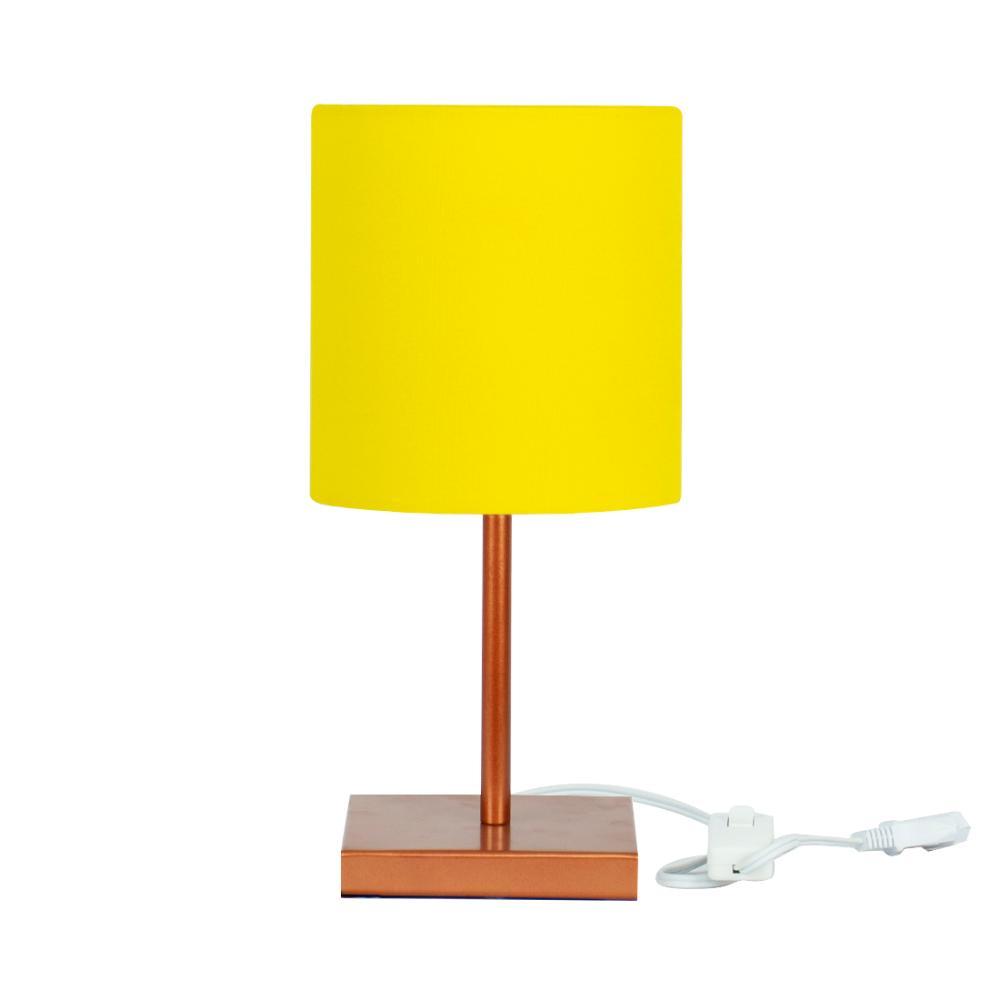 Abajur Eros Cilindrico Amarelo Base Toda Cobre Quadrada