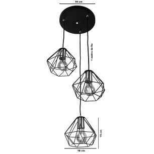 Lustre Pendente Luminária Diamante Aramado Triplo Cromado