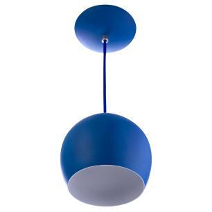 Lustre Pendente Bola Pequena De Alumínio 15cm Azul