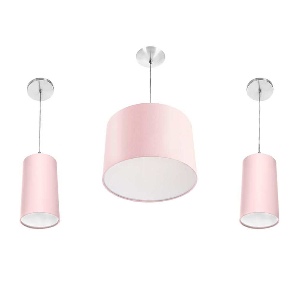 Kit Pendente Dome + 2 Pendente Cilindrica Rosa