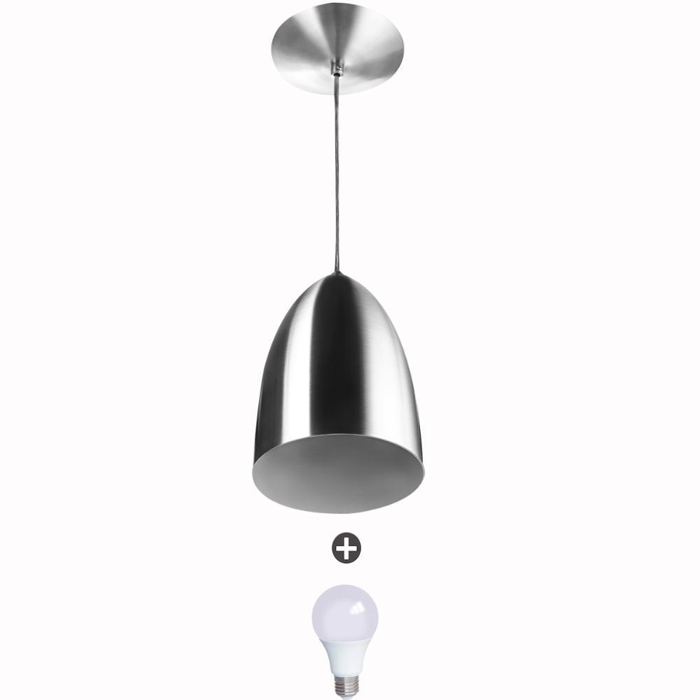 Lustre Pendente Cone Alumínio 20x14cm Escovado + Lampada