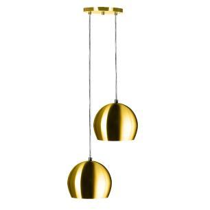 Lustre Pendente Aluminio Bola Duplo 15cm Dourado