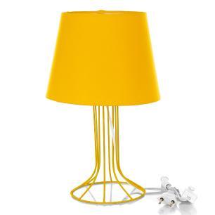 Abajur Torre Dome Amarelo Com Aramado Amarelo
