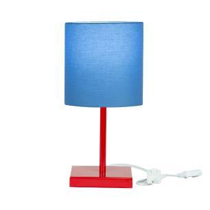 Abajur Eros Cilindrico Azul Base Toda Vermelha Quadrada