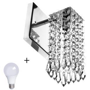Arandela De Cristal Acrilico Clearcrillic Quadrada + Lampada