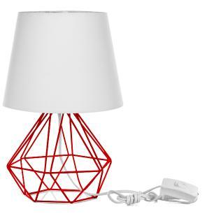 Abajur Diamante Dome Branco Com Aramado Vermelho