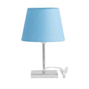 Abajur Eros Touch Dome Azul Bolinha com Base Quadrada.