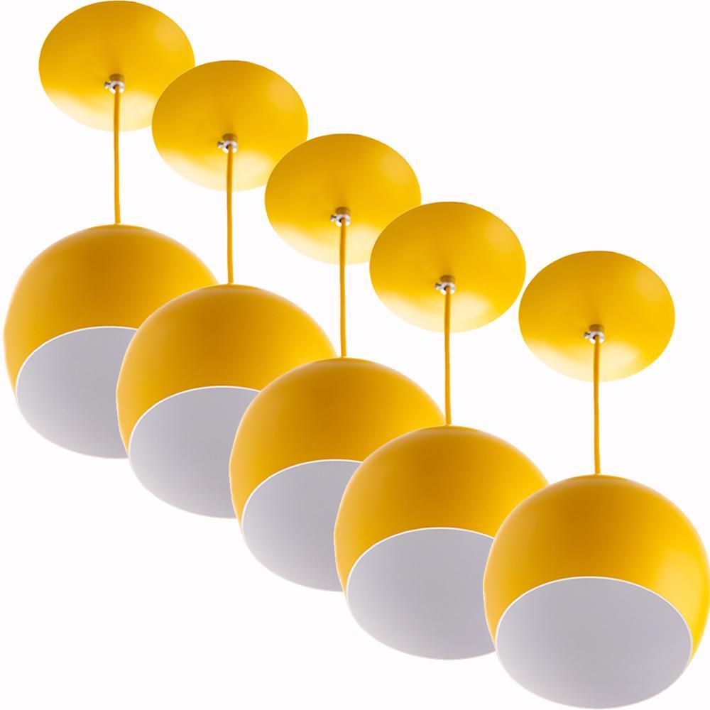 Kit 5 Lustres Pendente Bola Pequena Alumínio 15cm Amarelo