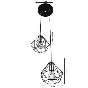 Lustre Pendente Luminária Diamante Aramado Duplo Cromado