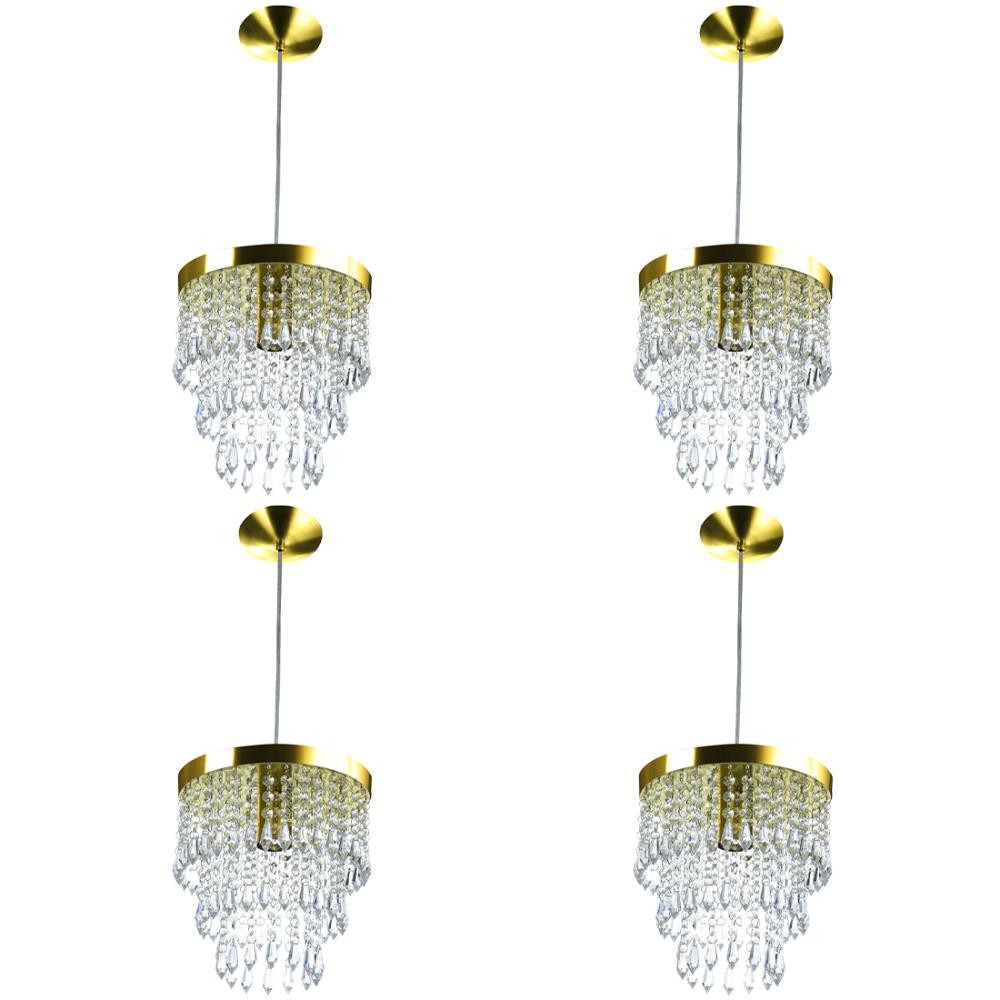 Kit 4 Lustre Pendente De Cristal Acrílico Manucrilic Dourado
