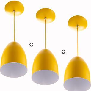 Kit 3 Lustre Pendente Cone De Alumínio 20x14cm Amarelo