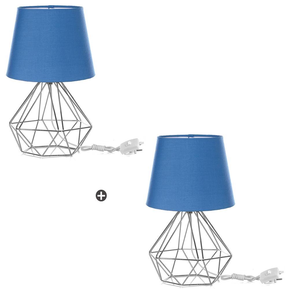 Kit 2 Abajur Diamante Dome Azul Com Aramado Cromado
