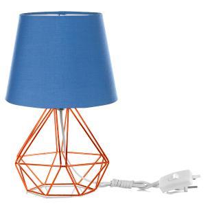 Kit 2 Abajur Diamante Dome Azul Com Aramado Cobre