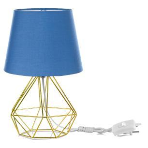 Abajur Diamante Dome Azul Com Aramado Dourado