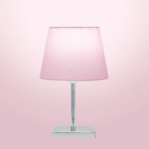 Abajur Eros Dome Rosa Bolinha com Base Quadrada Magnifico
