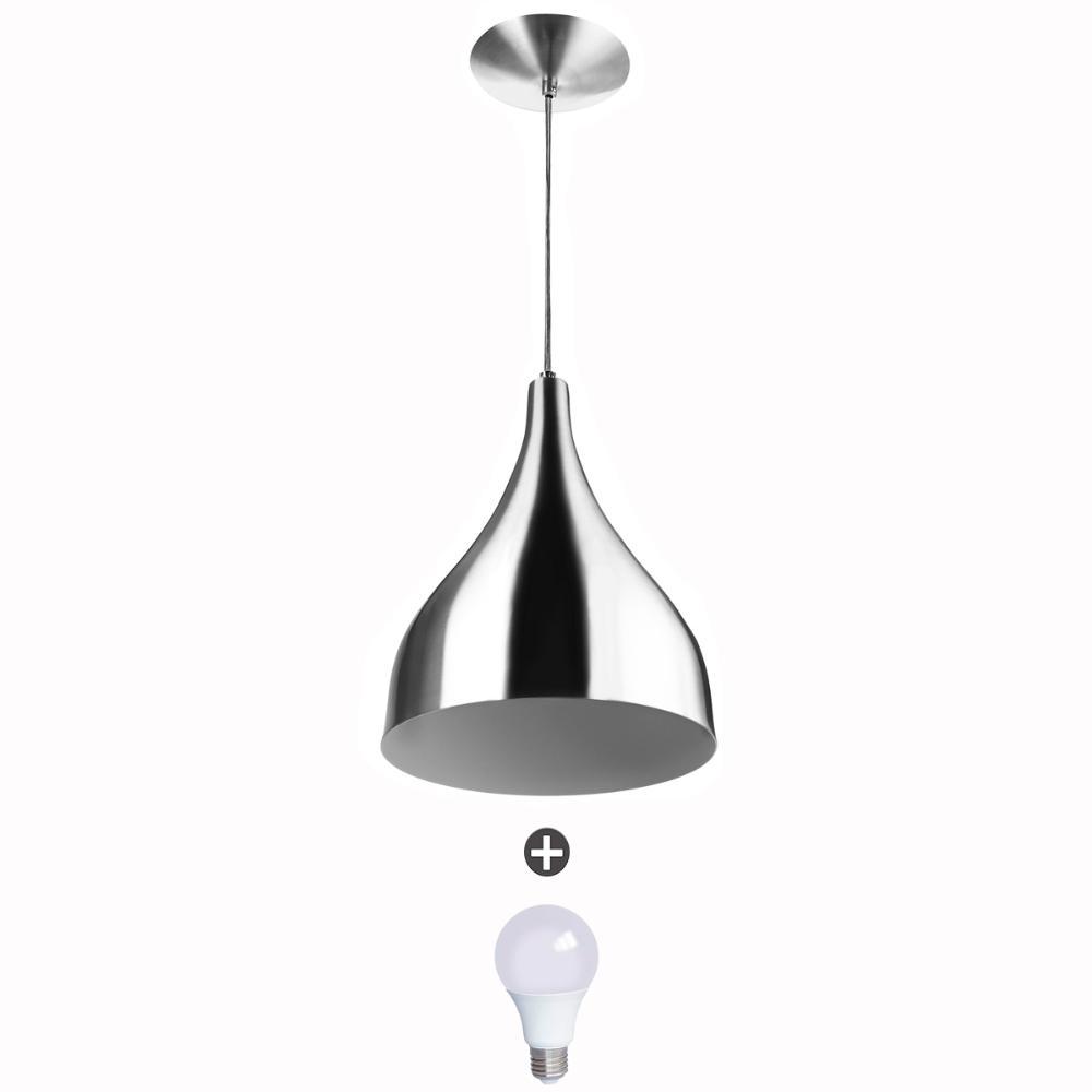 Lustre Pendente Gota Pequena Alumínio 21cm Escovado + Lampadas