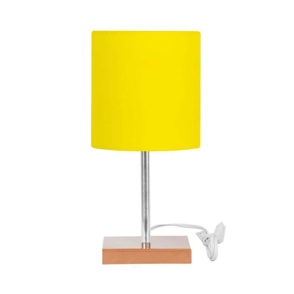 Abajur Eros Touch Cilindrico Amarelo Base Cobre Quadrada