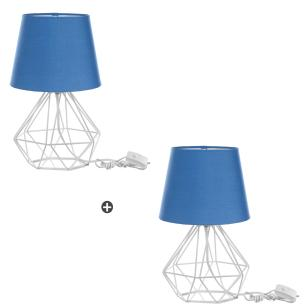 Kit 2 Abajur Diamante Dome Azul Com Aramado Branco