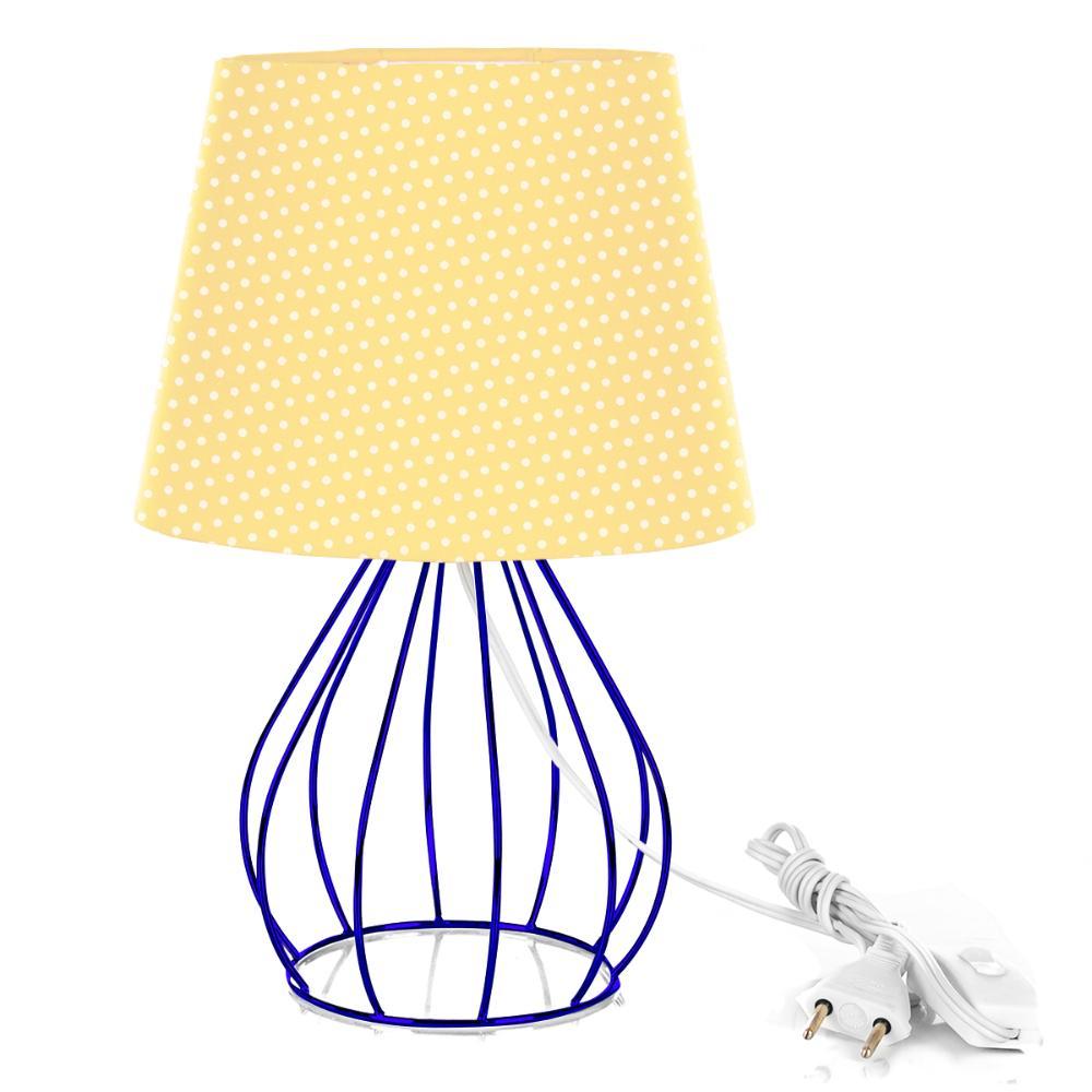 Abajur Cebola Dome Amarelo/bolinha Com Aramado Azul