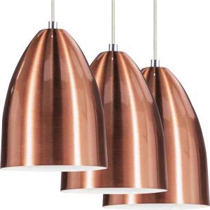 Kit 2 Lustre Pendente Luminária Cone de Alumínio New Cobre